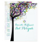 PixDezines TREE OF LIFE BAT MITZVAH/PURPLE/PINK Card