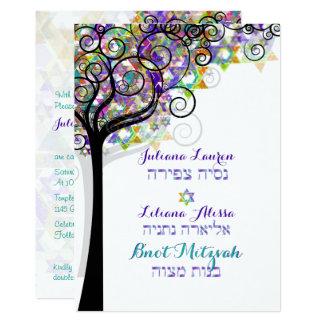 PixDezines TREE OF LIFE BNOT MITZVAH/PURPLE/PINK Card