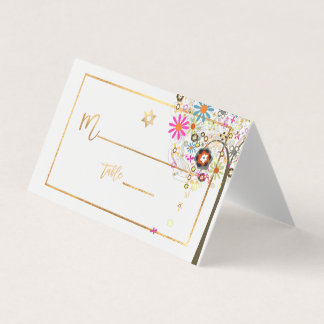 PixDezines Tree of LIfe+Floral+Faux Gold Place Card
