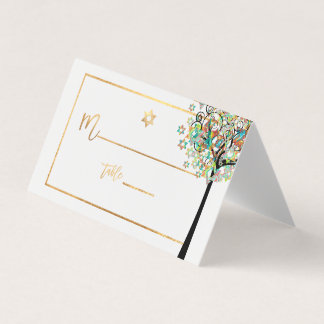 PixDezines Tree of LIfe+Green+Orange Place Card