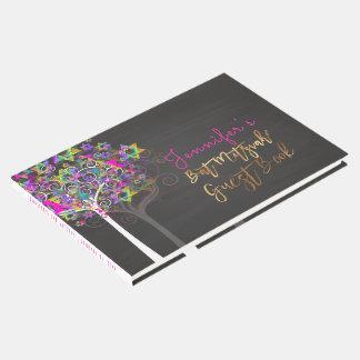 PixDezines Tree of Life Mitzvah/Pink+Chalkboard Guest Book