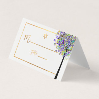 PixDezines Tree of LIfe+Purple+Green Place Card