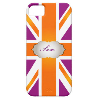 PixDezines union jack/raspberry+orange iPhone 5 Covers