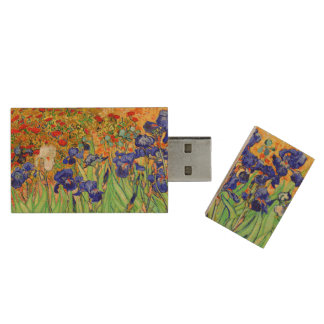 PixDezines van gogh blue/purple irises Wood USB Flash Drive