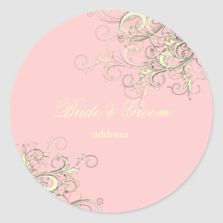 PixDezines vanilla swirls/diy cupcake pink Classic Round Sticker