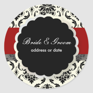 PixDezines Vendome Damask, diy Red Classic Round Sticker
