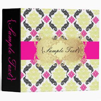 PixDezines Venezia, Pink + Green Damask Vinyl Binders