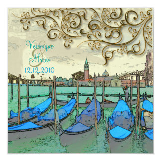PixDezines Venezia wedding invitations/gondolas Card
