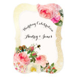 "PixDezines victorian roses/peonies/faux gold speck 5"" X 7"" Invitation Card"