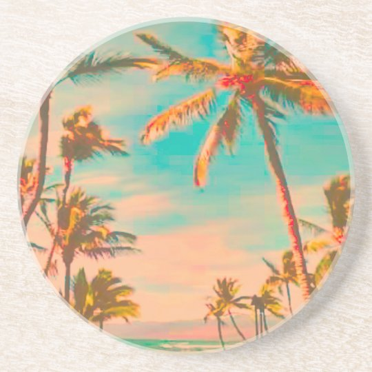 PixDezines Vintage Beach Scene, mauna lani bay Coaster
