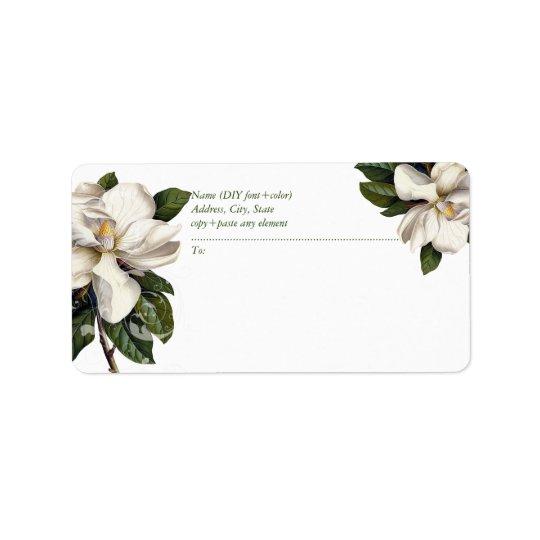 PixDezines Vintage Botanical Magnolia Label