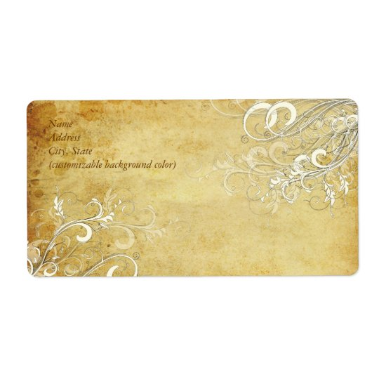 PixDezines Vintage Cream Swirls Shipping Label