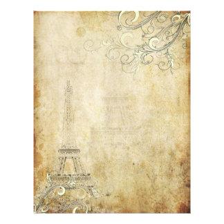 PixDezines Vintage Eiffel Tower+Swirls Letterhead