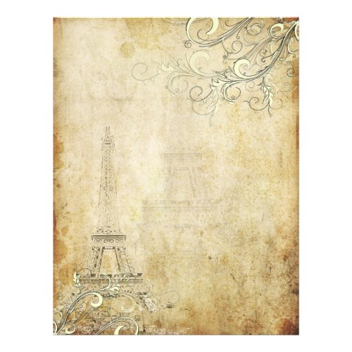 PixDezines Vintage Eiffel Tower+Swirls Personalized Letterhead
