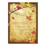 """PixDezines vintage fall invitations/maple leaves 5"""" X 7"""" Invitation Card"""