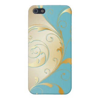 PixDezines vintage filigree swirls/faux gold+teal iPhone 5 Covers