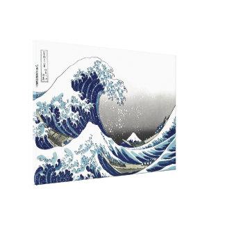 PixDezines Vintage, Great Wave, Hokusai 葛飾北斎の神奈川沖浪 Canvas Print