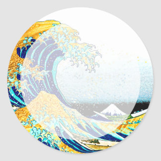 PixDezines Vintage, Great Wave, Hokusai 葛飾北斎の神奈川沖浪 Classic Round Sticker