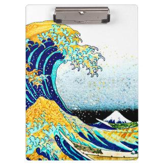 PixDezines Vintage, Great Wave, Hokusai 葛飾北斎の神奈川沖浪 Clipboards
