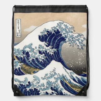 PixDezines Vintage, Great Wave, Hokusai 葛飾北斎の神奈川沖浪 Drawstring Bag
