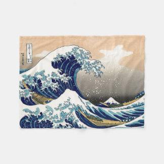 PixDezines Vintage, Great Wave, Hokusai 葛飾北斎の神奈川沖浪 Fleece Blanket
