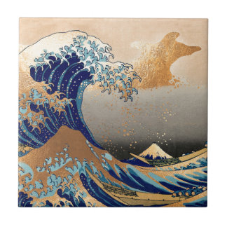 PixDezines Vintage, Great Wave, Hokusai 葛飾北斎の神奈川沖浪 Tile