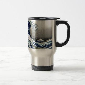 PixDezines Vintage, Great Wave, Hokusai 葛飾北斎の神奈川沖浪 Travel Mug