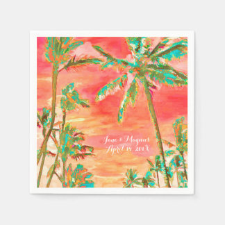 PixDezines Vintage Hawaiian Beach/Coral/Teal Disposable Napkin