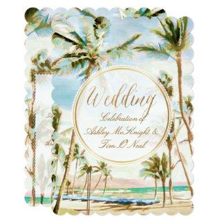 "PixDezines Vintage Hawaiian Beach/Light Blue 5"" X 7"" Invitation Card"