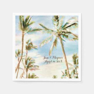 PixDezines Vintage Hawaiian Beach/Pale Blue Disposable Napkin
