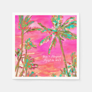 PixDezines Vintage Hawaiian Beach/Pink/Teal Disposable Napkins