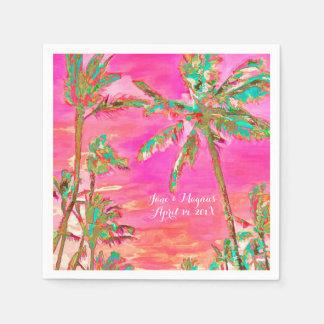 PixDezines Vintage Hawaiian Beach/Pink/Teal Paper Napkin