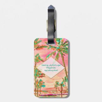 PixDezines vintage hawaiian beach scene/Pink Bag Tag