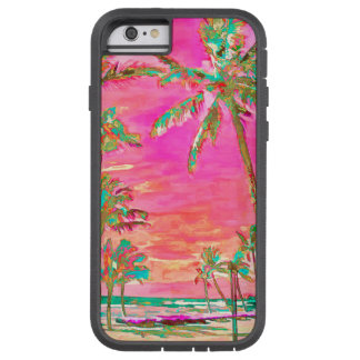 PixDezines Vintage Hawaiian Beach Scene/Pink Tough Xtreme iPhone 6 Case
