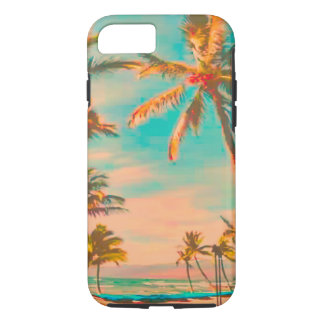PixDezines Vintage Hawaiian Beach Scene/teal iPhone 7 Case