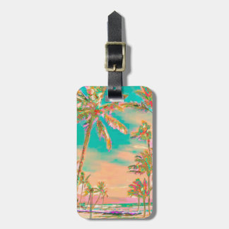 PixDezines vintage hawaiian beach scene/teal Luggage Tag