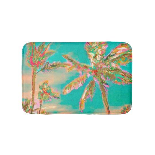 PixDezines Vintage Hawaiian Beach/Teal Bath Mat