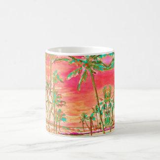 PixDezines Vintage Hawaiian Beach/Teal+Orange Coffee Mug