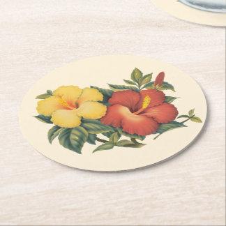 PixDezines Vintage Hawaiian Hibiscus/DIY backgroun Round Paper Coaster