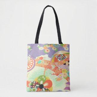 PixDezines Vintage Kimono Print/Peonies/Sakura Tote Bag