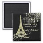 PixDezines Vintage La Tour Eiffel, Save the Date Square Magnet