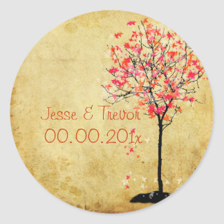 PixDezines vintage maple tree/pink Classic Round Sticker