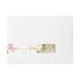 PixDezines vintage roses/floral Wraparound Address Label