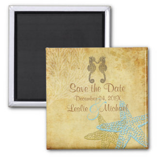 PixDezines Vintage seahorse+starfish/Save the Date Magnet