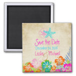 PixDezines Vintage starfish, Save the Date Square Magnet