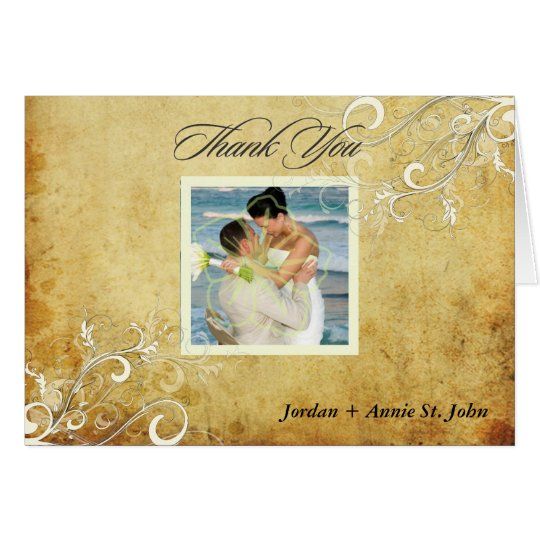 PixDezines Vintage Swirls/Wedding Thank You Card