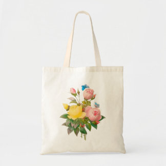 PixDezines Vintage Yellow/Pink/Roses/Redoute Tote Bag