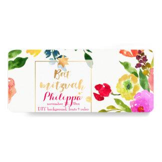 "PixDezines Watercolor/Floral/Bat Mitzvah 4"" X 9.25"" Invitation Card"