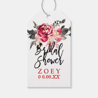 PixDezines Watercolor Floral Bridal Shower Pack Of Gift Tags