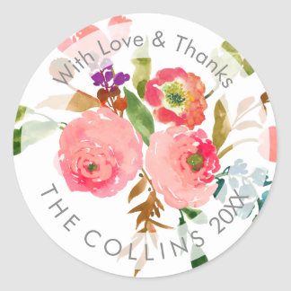 PixDezines Watercolor Floral/Ranunculus/Thank You Classic Round Sticker